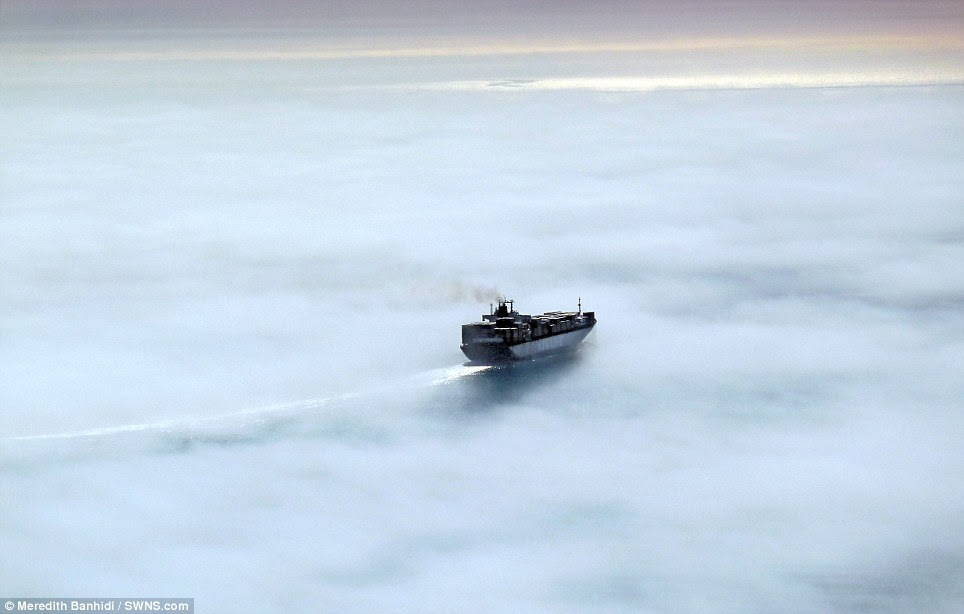 May: Ship in sea fog off McCrae, Port Phillip Bay, Victoria, by photographer Meredith Banhidi