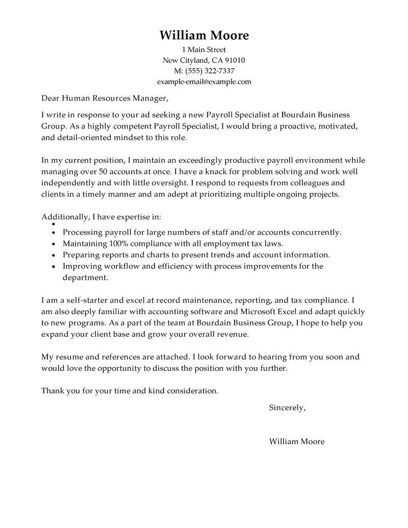 Payroll Specialist Cover Letter Sample Job Search