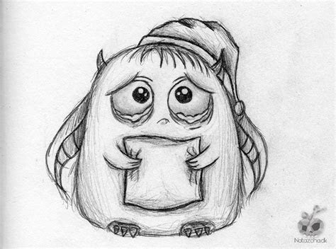 sad cute monster drawing monsters pinterest drawings