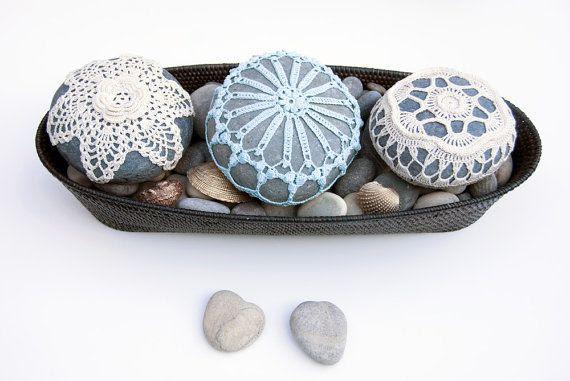 crochet lace stone // sea foam blue // turquoise by TableTopJewels