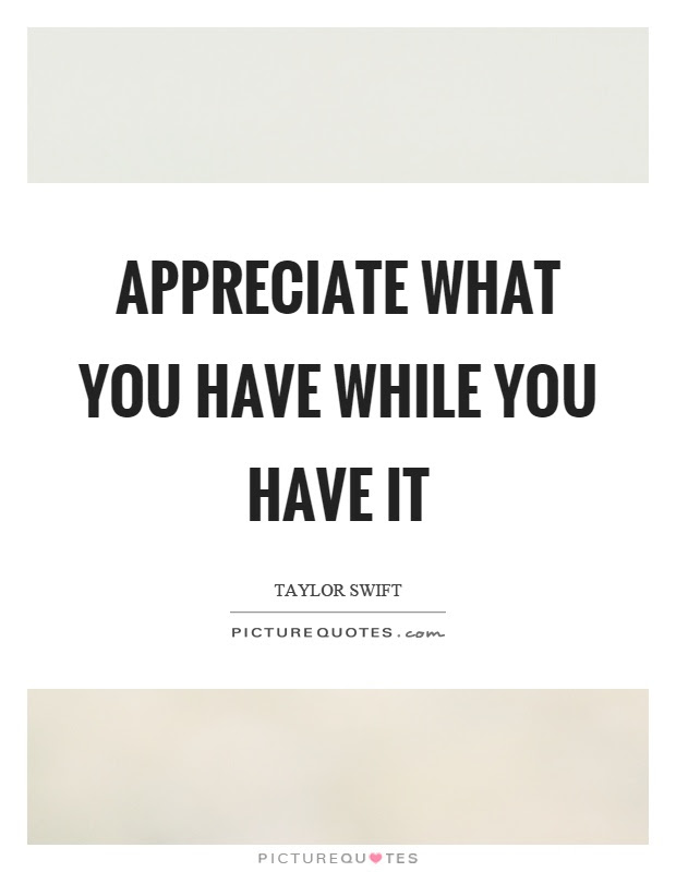 Appreciate What You Have While You Have It Picture Quotes