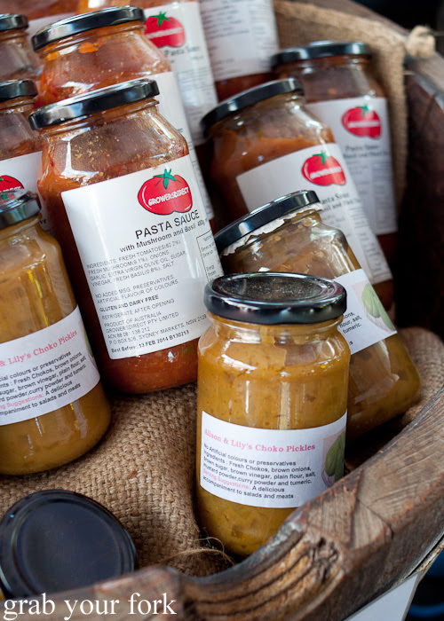 Pasta sauce and choko pickles at Frenchs Forest Organic Food Market