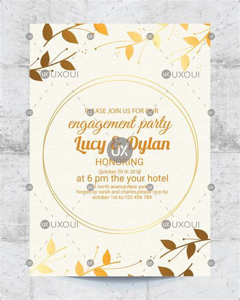 Floral wedding engagement party invitation card design