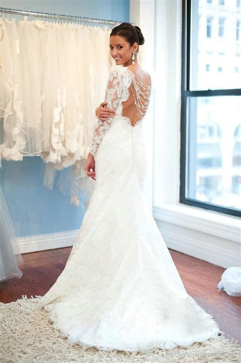 Elegant A Line Lace 2019 Wedding Dresses with Sleeves Open
