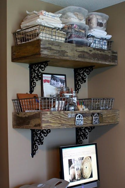 Shelves from old wooden box crates.