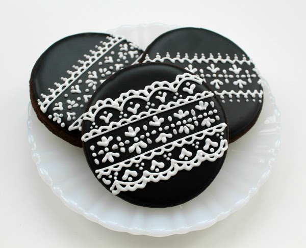 image iced cookies lace pattern biscuits
