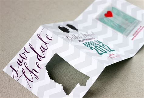 Beth   Michael's Chevron Stripe Calligraphy Save the Dates