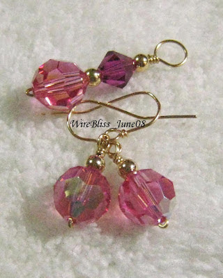 Swarovski Crystal pendant and earrings (gold filled wires)