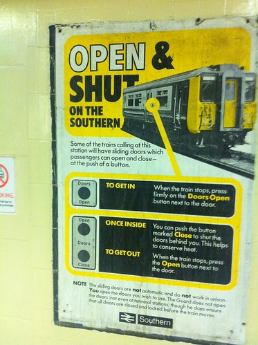 Old poster found at Richmond Station - Open & Shut by Simon Hickman