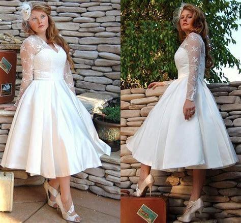 Custom Made Plus Size Vintage Short White Wedding Dresses