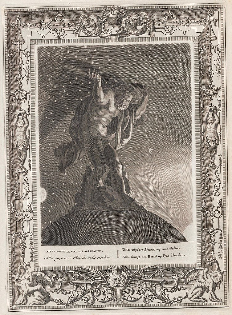 book illustration engraving by Bernard Picart of the mythological figure Atlas supporting the starry heavens on his shoulders