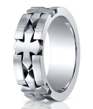 Men's Designer Cobalt Chrome Wedding Band with Celtic Crosses