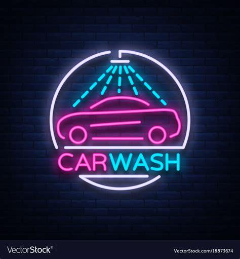 car wash logo design emblem  neon style vector image