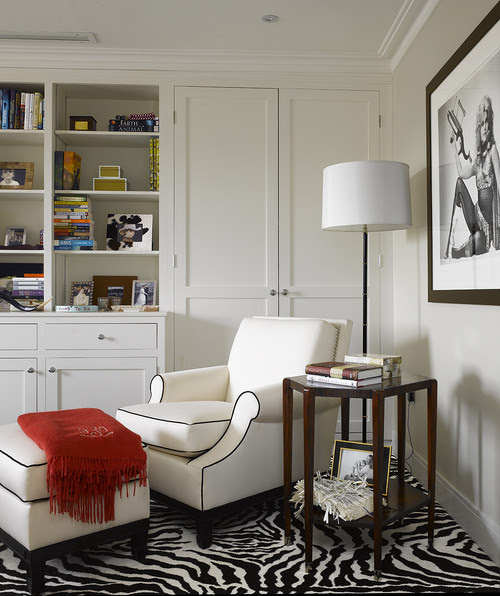 chair ottoman floor lamp in corner