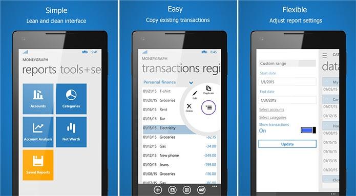 Moneygraph é um controlador financeiro com suporte a gastos, ganhos e gráficos (Foto: Divulgação/Windows Phone Store)