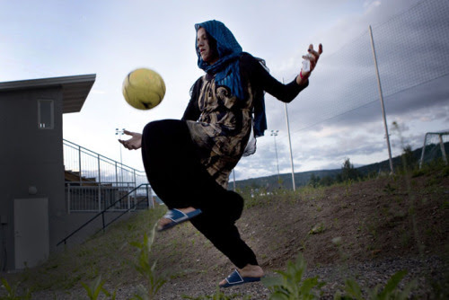 """Got this beautiful picture from Lela Ahmadzai'swebsite.  This particular image makes me incredibly happy. My mother always taught me I could """"be anyone and play anything"""".  I hope young women all over the world hear that message at some point in their lives.  It doesn't have to be football. It can be something they love and something they crave. Women's Advocacy, Sport, Environmentalism, Hobbies but something. So that they know, and the world understands, that everyone has a contribution to make.  Women need that chance. And that encouragement.  Lela has captured the resilience and passion of the women in Afghanistan and their love for the beautiful game.  Do check out her amazing work:http://www.ahmadzai.eu/en/allgemein-en/a-wmans-goal  I watch this short film a lot. It reminds me of my privilege. I am very aware of my ability to play safely and teach my daughter the same.  I have posted it and will continue to post it again. And again. And Again."""