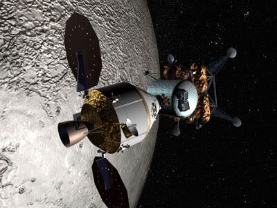 An artist's concept of the ORION spacecraft and Lunar Surface Access Module (lunar lander) in Moon orbit.