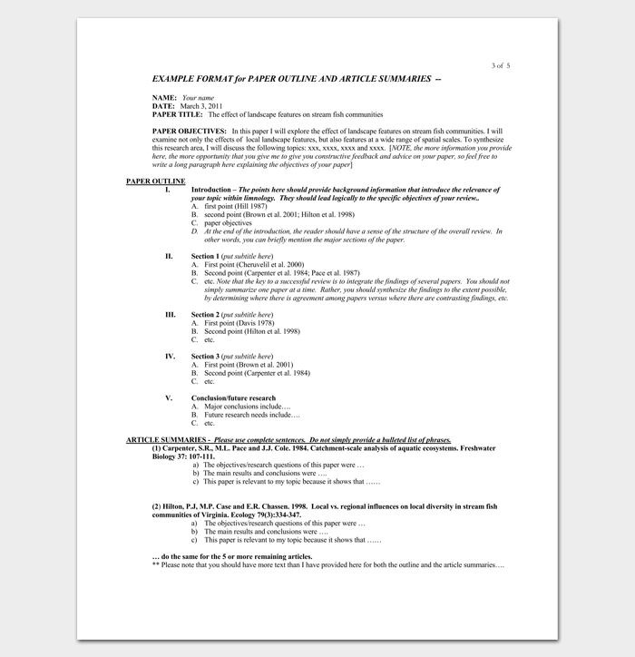 how to write a literature review paper outline