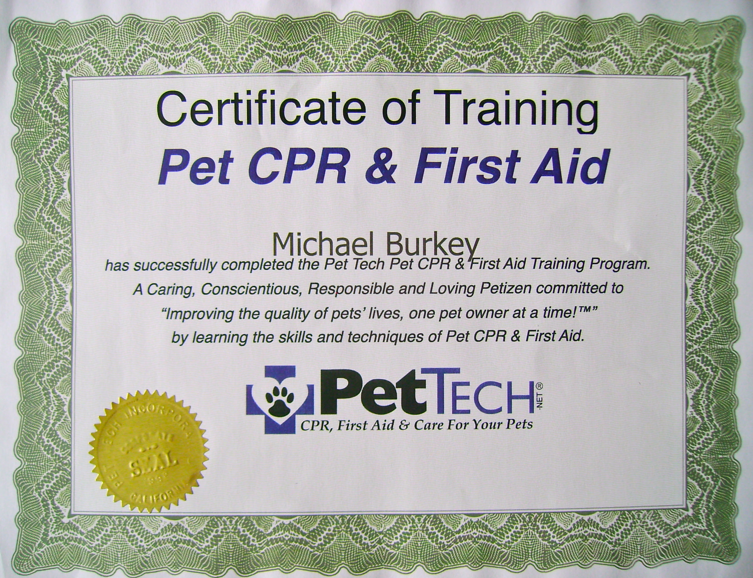 aid dog certificate cpr michigan pet would know