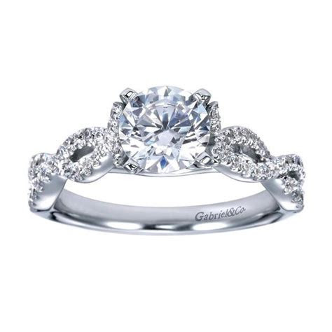 14K White Gold Criss Cross Diamond Engagement Ring