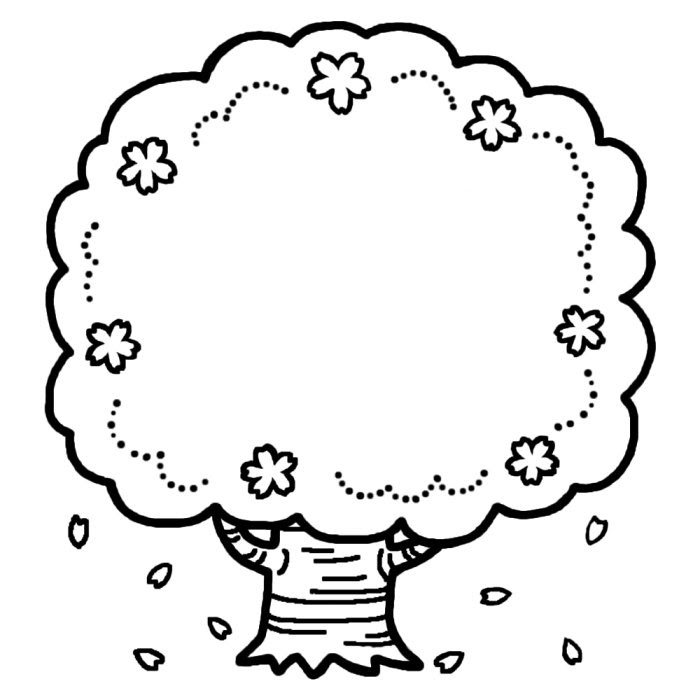 桜の木白黒お花見春枠ふきだし無料イラスト素材