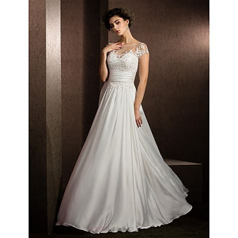 A line Petite / Plus Sizes Wedding Dress   Ivory Floor