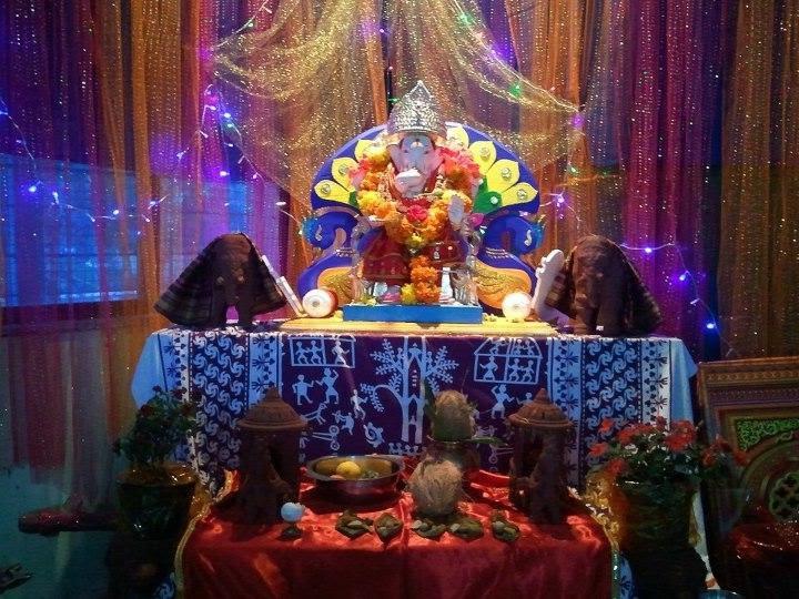 Ganpati  decoration  home  photo