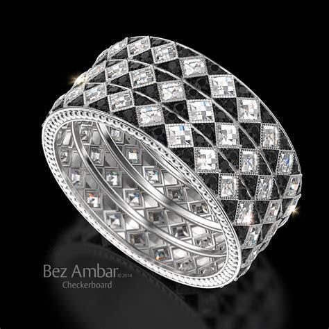 Tri Color Checkerboard  Eternity Diamond Ring