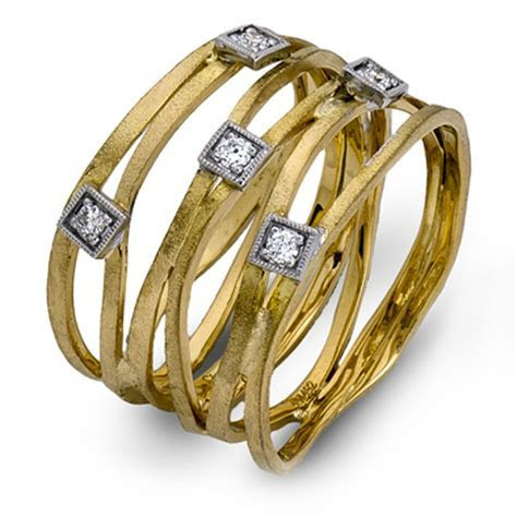 Simon G Engagement Rings 18k Two Tone Diamond Band Ring