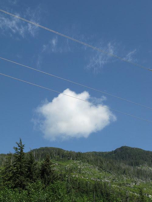 cloud and power lines with Kasaan Mountain, Kasaan, Alaska