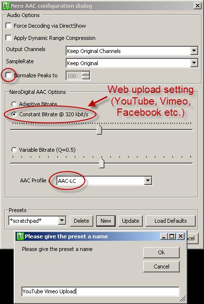 MeGUI Nero AAC audio encoder settings