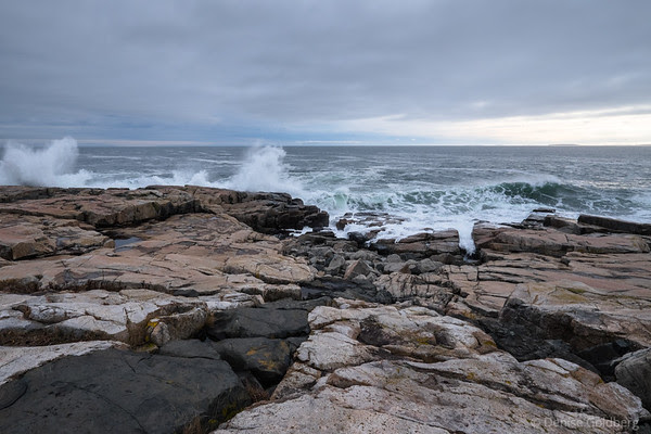 waves crash on the Schoodic Peninsula
