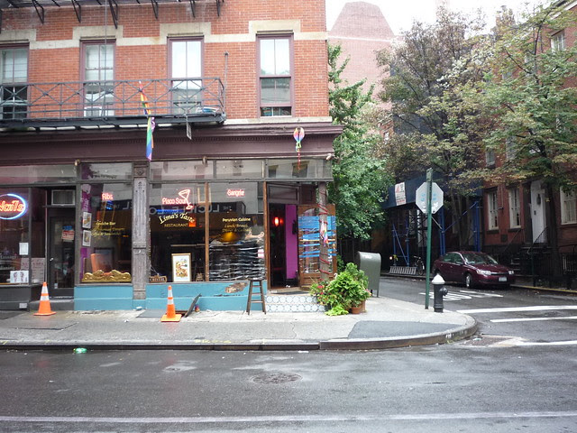 A restaurant prepares windows for Hurricane Irene