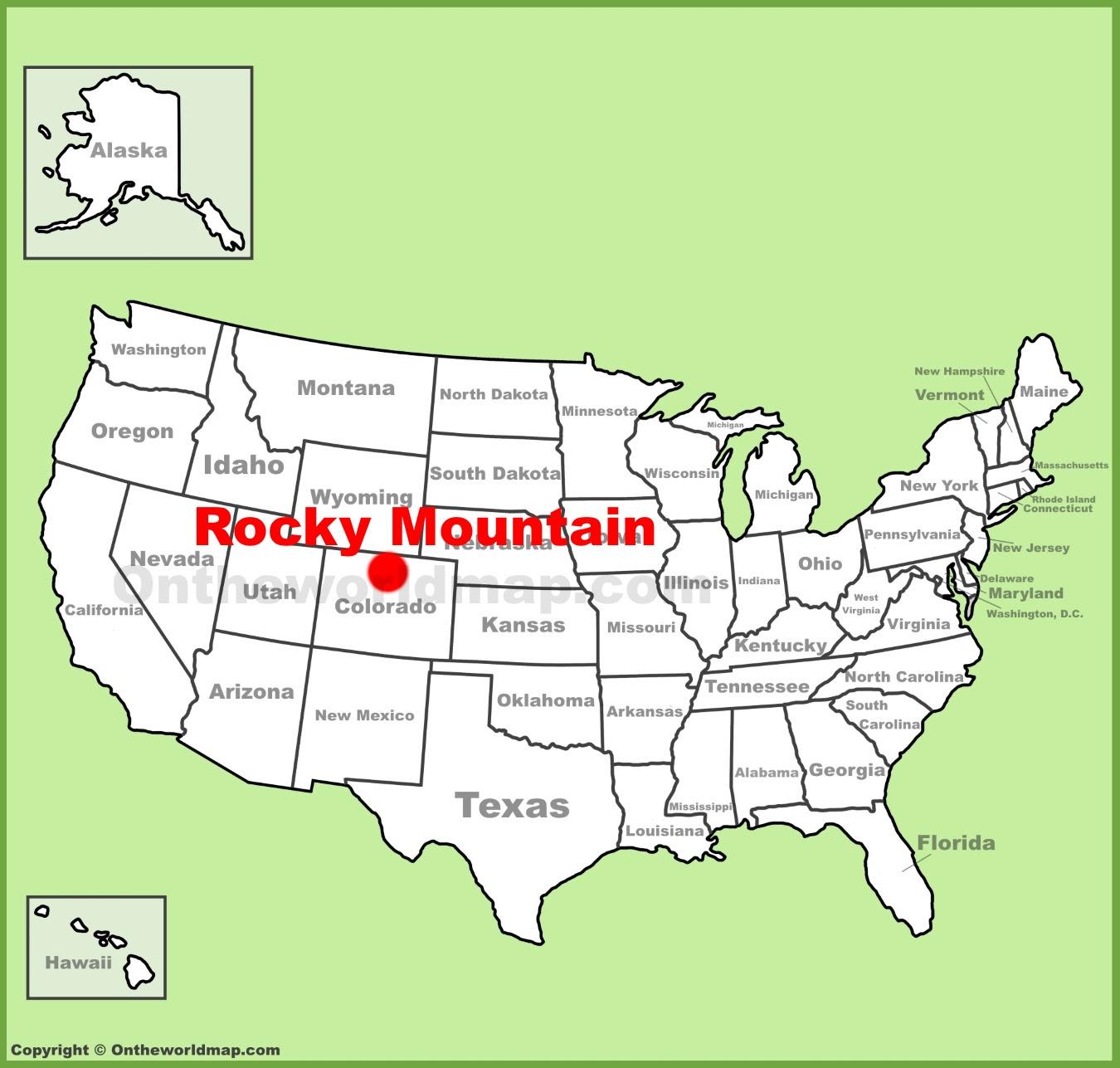 Rocky Mountains Us Map | World Map Gray