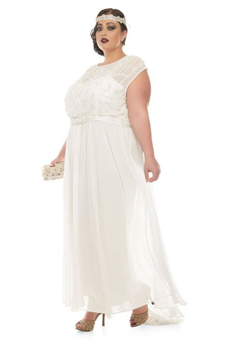 Plus Size Roselyn Off White Wedding Prom Maxi Wedding Dress
