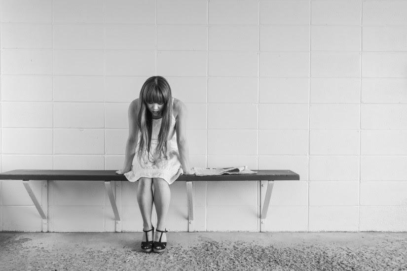Black-and-white, Dress, Girl, Sitting, Tiles, Waiting