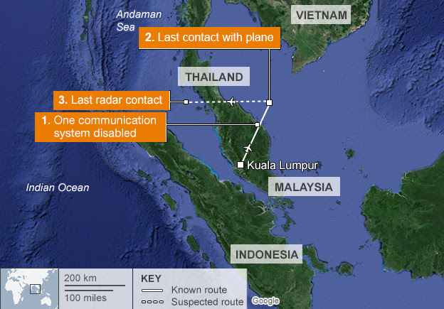 Flight MH370's known route, and suspected route to the last confirmed radar reading