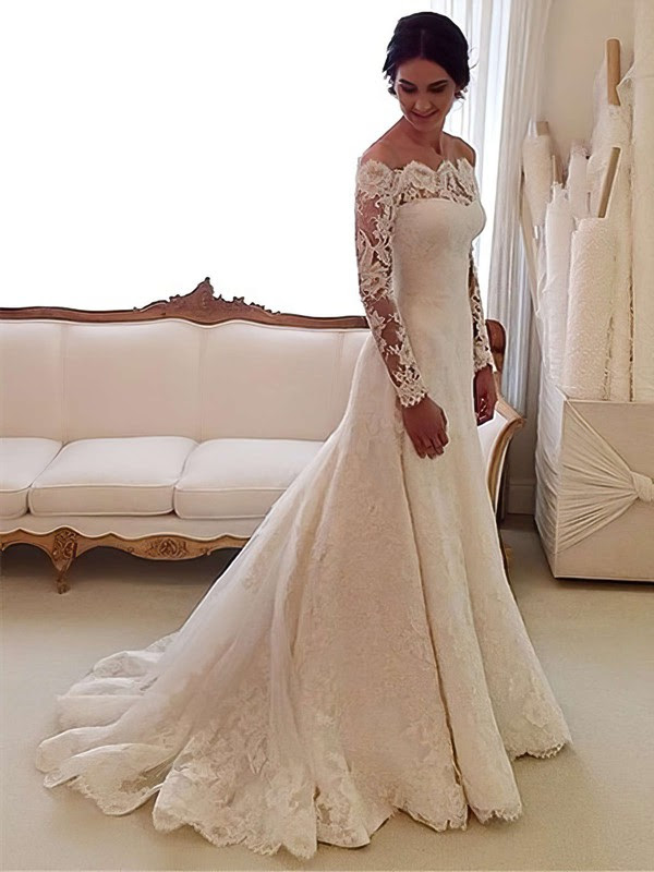 Online A-line Off-the-shoulder Lace Tulle Watteau Train Appliques Lace Long Sleeve Wedding Dress #Milly00022557