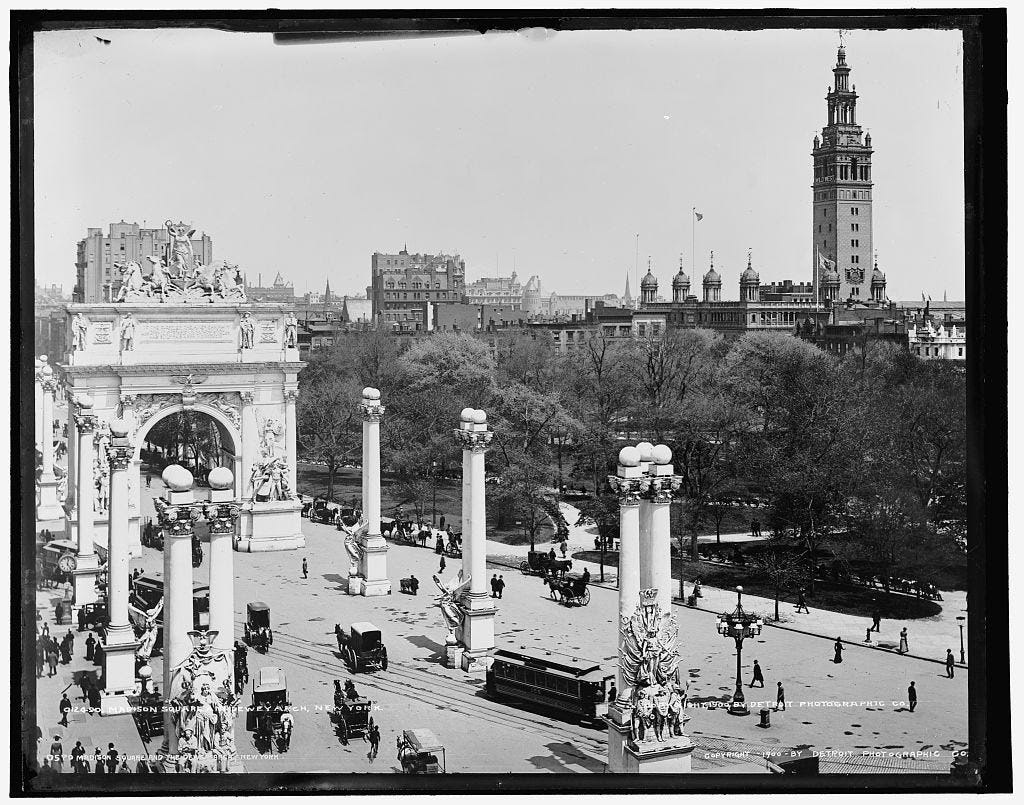Madison Square Park has been home to several temporary arches over the years. In 1899, the Dewey Arch was constructed in honor of Commodore George Dewey's victory over the Spanish.