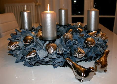 Recycled Denim Table Centerpiece  with pearls instead of