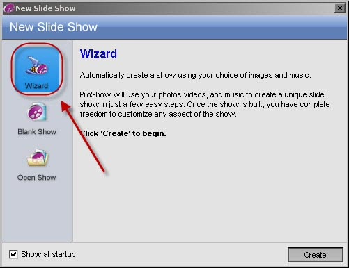 Photodex ProShow Gold 4.5 - Asistente Paso 1