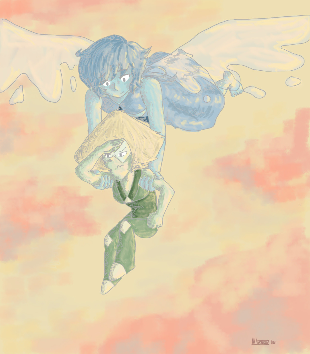 so Lapis and Peridot decide to take a late afternoon stroll…in the skies
