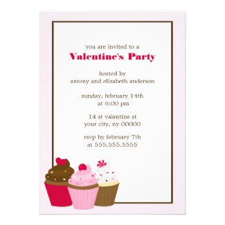 Cupcakes Valentines Day Party Personalized Invitation