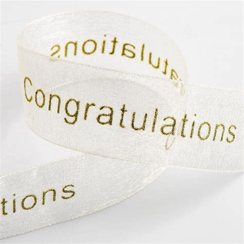 Ivory and Gold Congratulations Organza Ribbon at Favour This