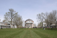 The University of Virginia campus at Charlottesville, designed in the early 1800s by Thomas Jefferson. The American statesman and architect took as his model the works of the Italian architect Andrea Palladio from the 16th century.
