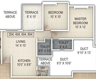 2 BHK Flat - 582 Carpet + Terrace - A  Building - Windsor County Ambegaon Budurk Pune 411046