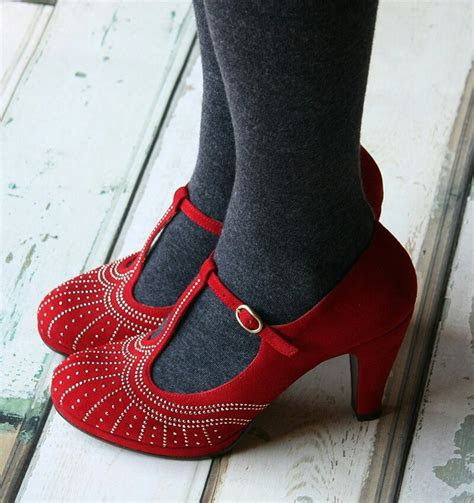 red studded mary janes vintage shoes fashion shoes red shoes