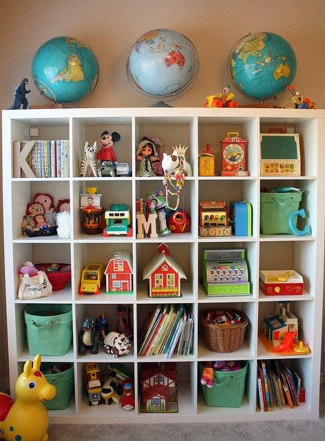 Cute toy storage solution for a kids room.