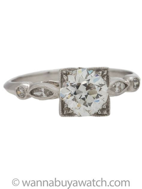 Vintage Engagement Ring Platinum 1.04ct Old European Cut F