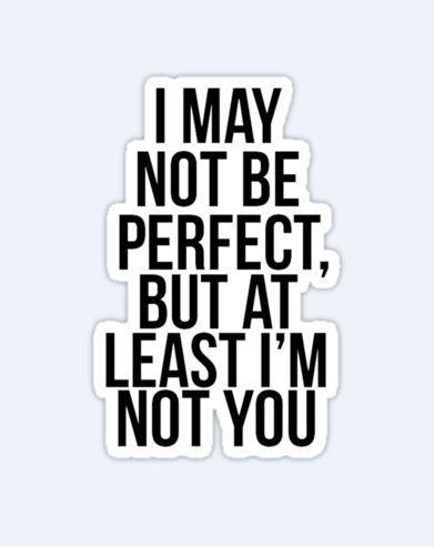 I May Not Be Perfect But At Least I Am Not You Picture Quotes